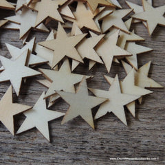 50 Little Wood Stars Very Small 1 inch size