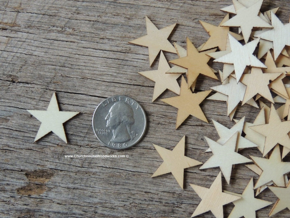 Small Wood Stars in one inch size for making wooden flags, Christmas Crafts, Flag Crafts, DIY