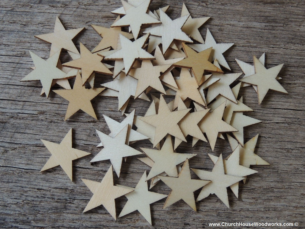 50 Small Wood Stars Diy Rustic Table Decorations Christmas Flag Stars Crafts