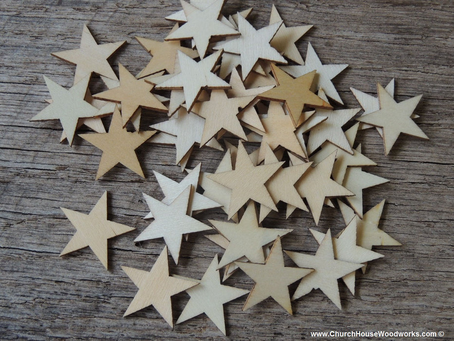 Small Wood Stars in .75 inch size for Christmas Crafts, Flag Crafts, DIY