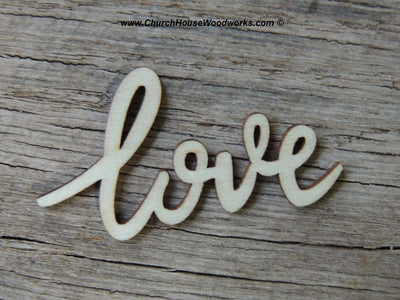 Cursive love wood letters word wedding decor table decorations wood confetti