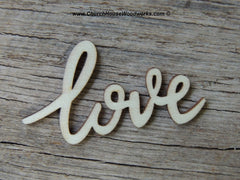 """love"" wood cursive word - 25ct"