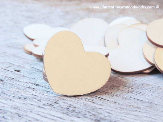 1.5 inch large blank wood heart tags for weddings anniversary showers decor