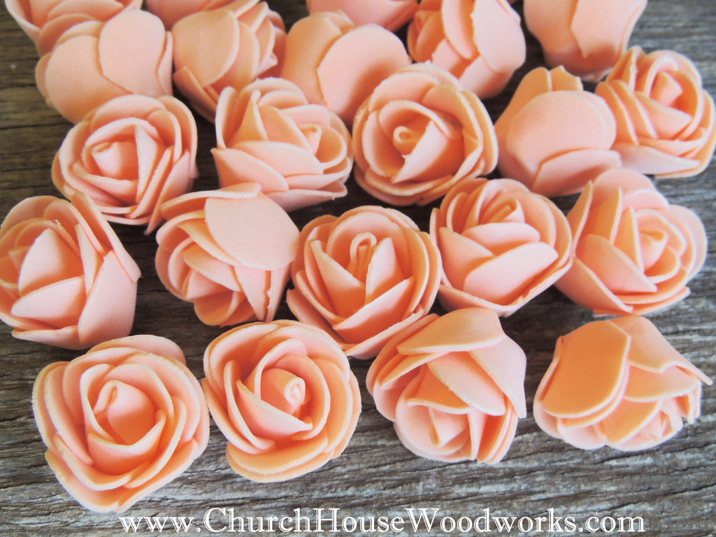 Sherbert Orange Foam Roses- Pack of 50