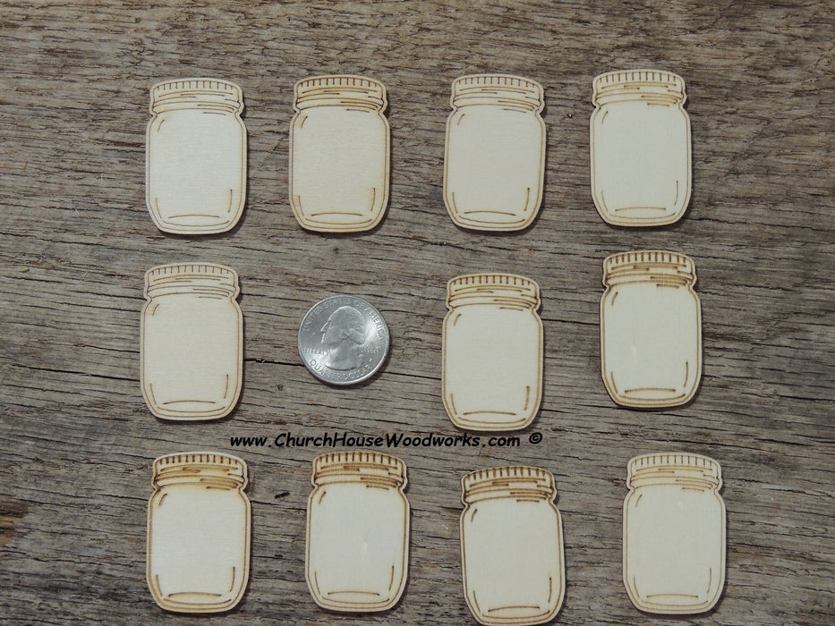 1.5 inch wood mason jar rustic wedding favor guestbook crafts diy art woodcraft shapes