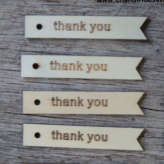 Wood Thank you Tags - 25 ct