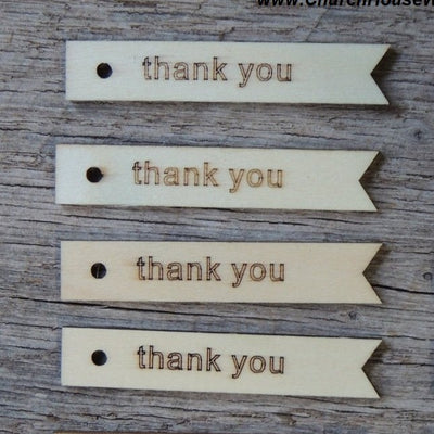 Wood thank you tags for wedding favors receptions gift tags with holes flags