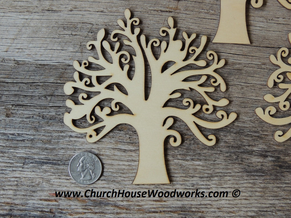 5 inch tall wood tree craft shape wooden tree of life embellishment woodcraft diy supplies