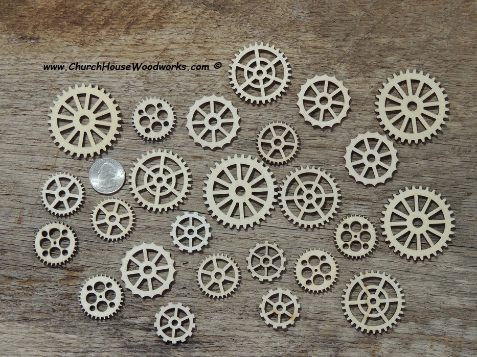 25 Wood Gear Cogs for Steampunk Crafts Wooden Watch Gears Wheels Embellishments Shapes Industrial Craft Supplies 1 to 2 inch size