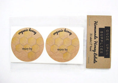 Organic Honey Round Mason Jar Labels - Once Upon Supplies