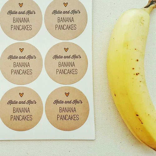 banana pancake mix custom labels stickers for wedding favors, bridal shower favors, party favors