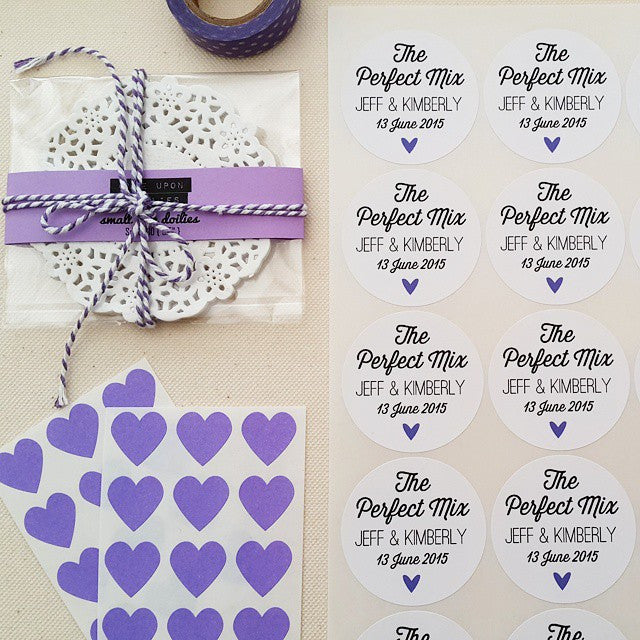 the perfect mix wedding favor labels with names, date and mini heart