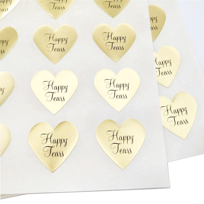Happy Tears Labels for Wedding Tissue Packs, Wedding Supplies, in Gold or Silver Foil