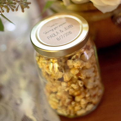 Love is Sharing Popcorn Stickers for Wedding Favors