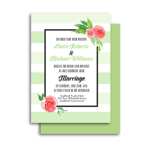 Green Stripes Floral Wedding Invitation