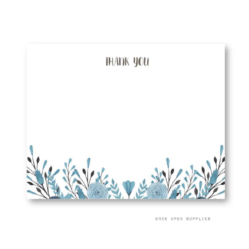 Watercolour Floral Blue Personalized Wedding Thank You Cards