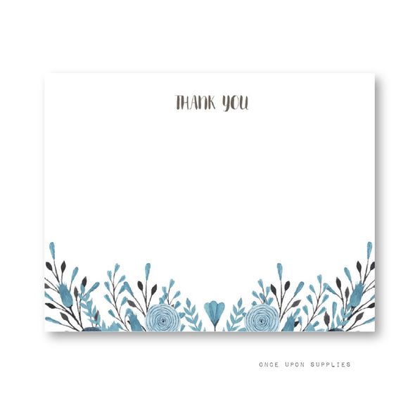 Blue and Gray Watercolor Floral Thank You Cards