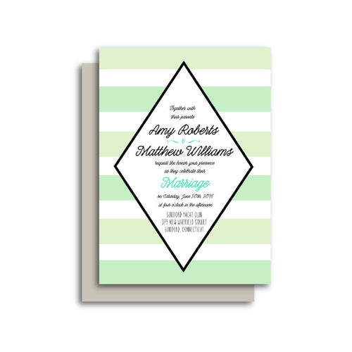 Classic Green Stripes Diamond Frame Wedding Invitation