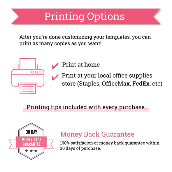 Editable Party Printables | Printing Options