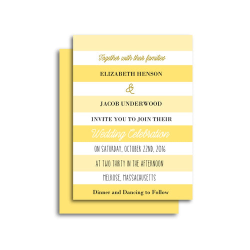 Yellow Stripes Wedding Invitation