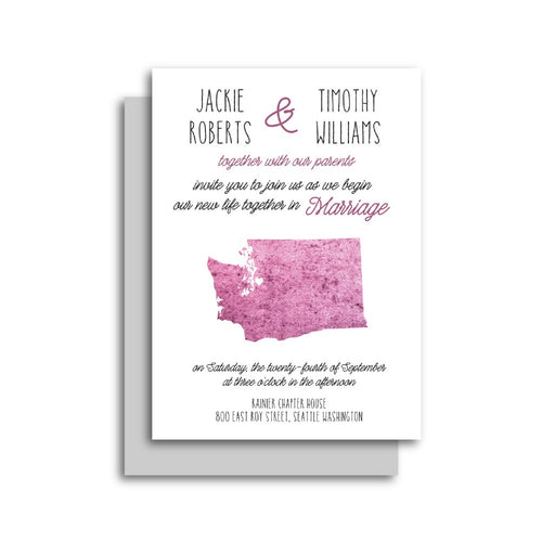 Watercolor State Shape Wedding Invitation