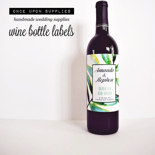 Personalized Wine Bottle Labels - Tropical Green Leaves