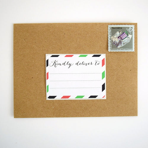 Red and Green Stripes Christmas Shipping Labels - Once Upon Supplies - 1