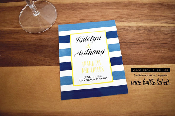 Nautical Wine Labels - Custom Waterproof Labels