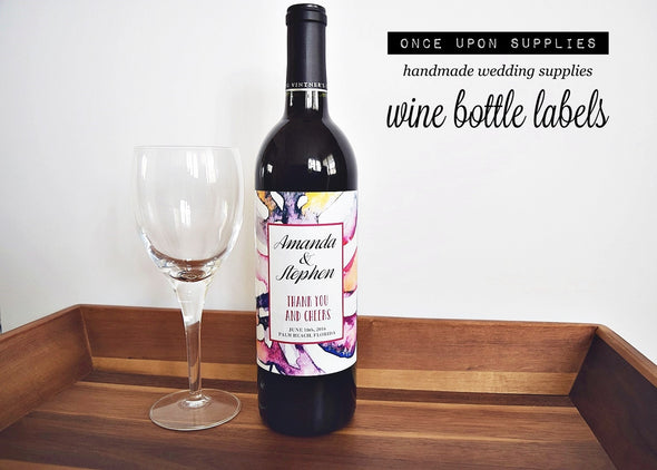 Personalized Labels Wine Bottle Labels - Abstract Watercolor Pattern