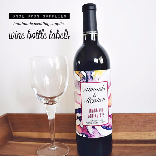 Personalized Labels Wine Bottle Labels - Pink Purple Watercolor