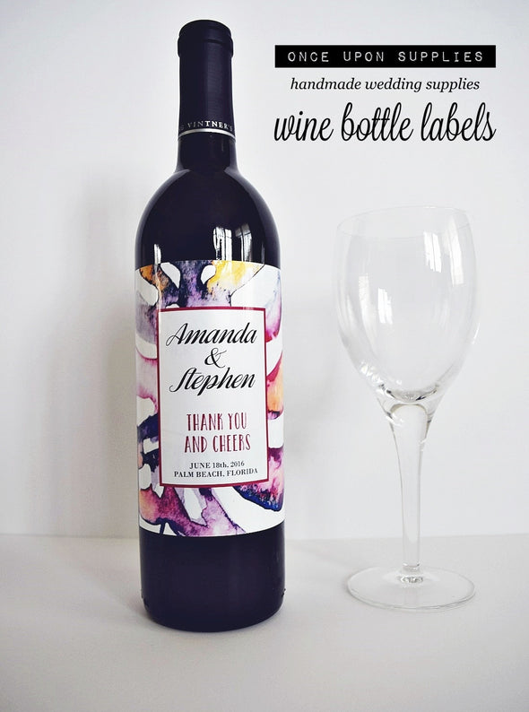 Personalized Labels - Pink Purple Watercolor Wine Bottle Labels