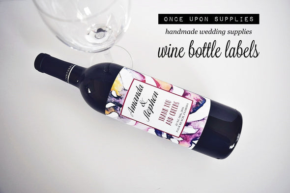 Personalized Labels - Pink Purple Watercolor Wine Labels