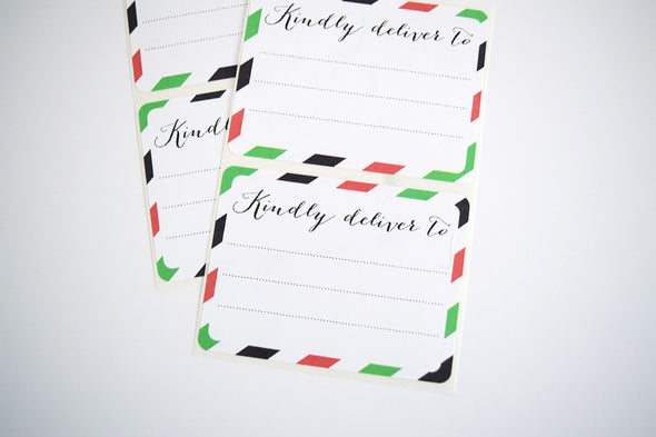 Red and Green Stripes Christmas Shipping Labels - Once Upon Supplies - 2