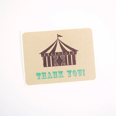 Circus Tent Thank You Labels / Circus Theme Birthday Favor Labels - Once Upon Supplies - 1