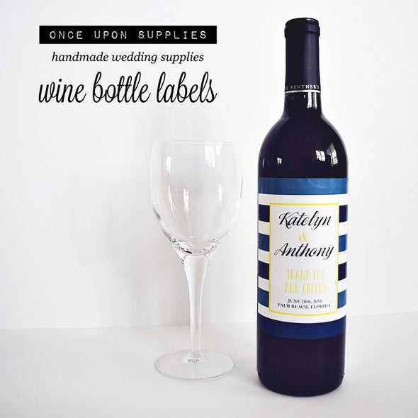 Waterproof Labels Wine Bottle Labels - Nautical Stripes
