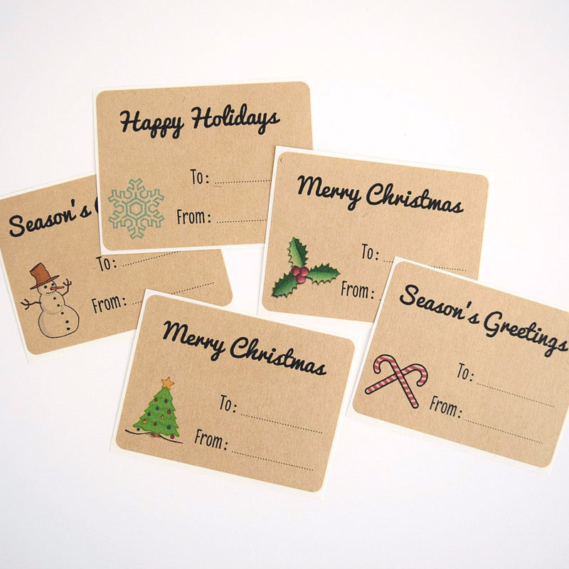 Christmas Labels Kraft Brown with Mixed Designs