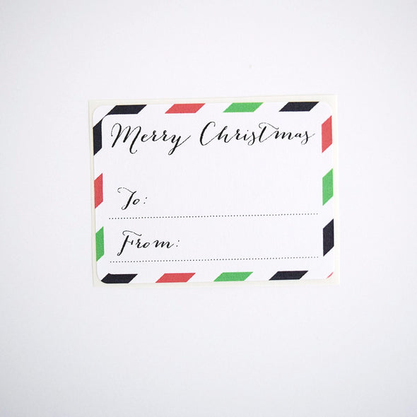 Red and Green Merry Christmas Stripes To and From Gift Labels - Once Upon Supplies - 3