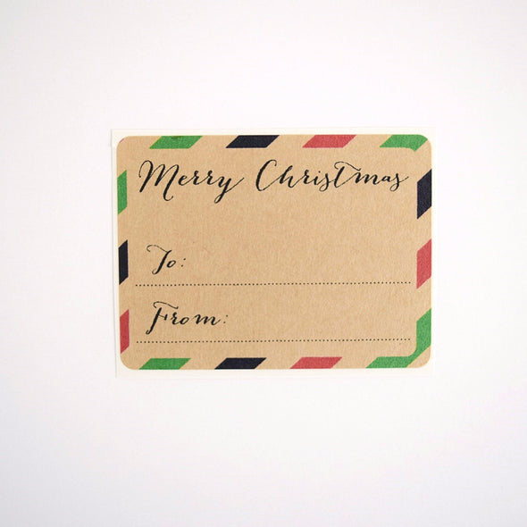 Red and Green Merry Christmas Stripes To and From Gift Labels - Once Upon Supplies - 2