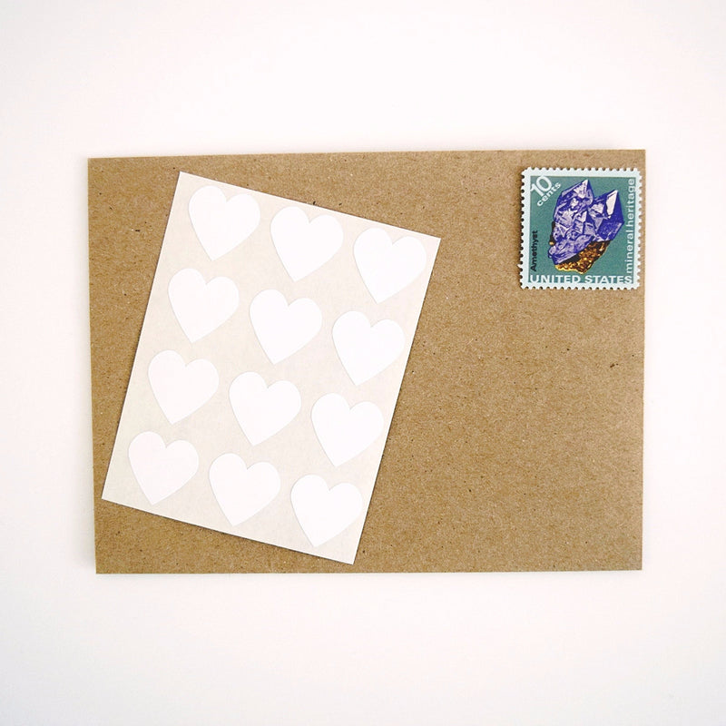 White Mini Heart Stickers - Once Upon Supplies - 1