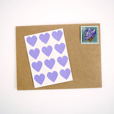 Purple Mini Heart Stickers Envelope Seals - Once Upon Supplies - 1
