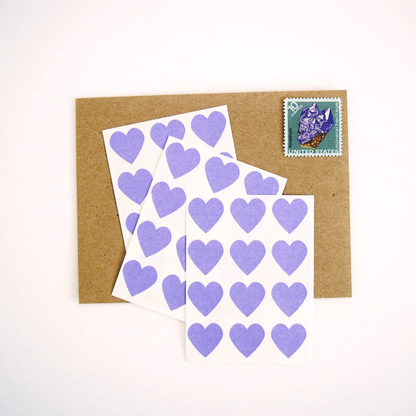 Mini Purple Heart Stickers Envelope Seals - Once Upon Supplies