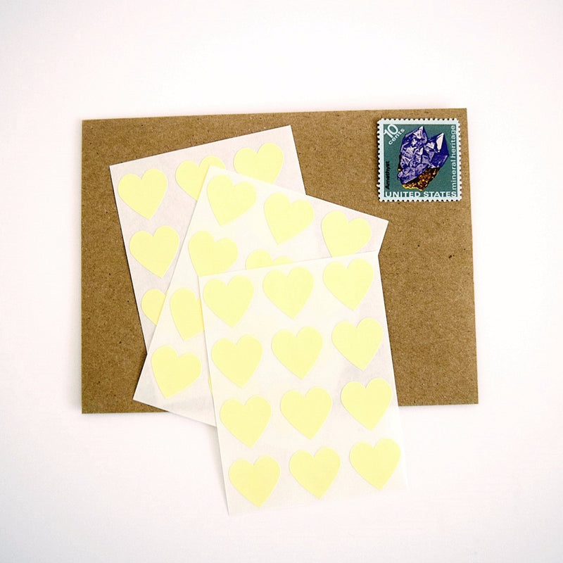 Yellow Mini Heart Stickers Envelope Seals - Once Upon Supplies