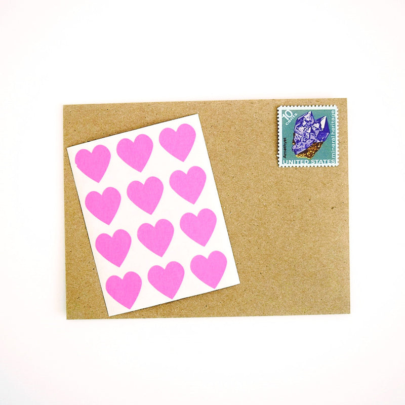 Mini Heart Stickers in Fuchsia Hot Pink - Once Upon Supplies