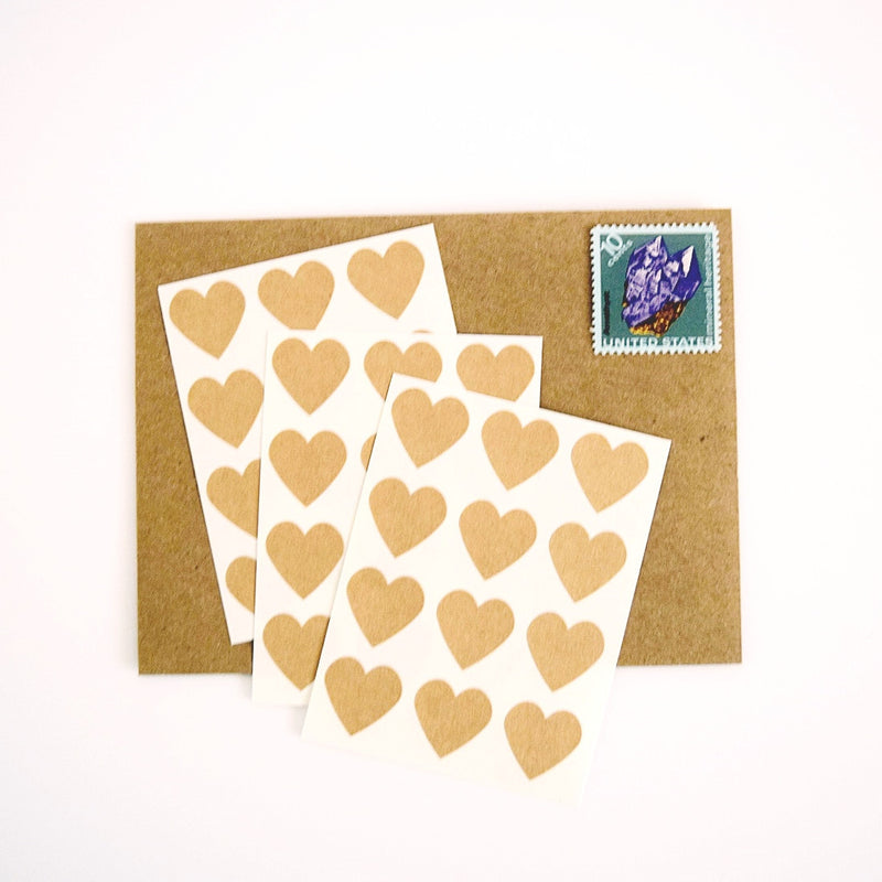 Mini Kraft Heart Stickers - Once Upon Supplies