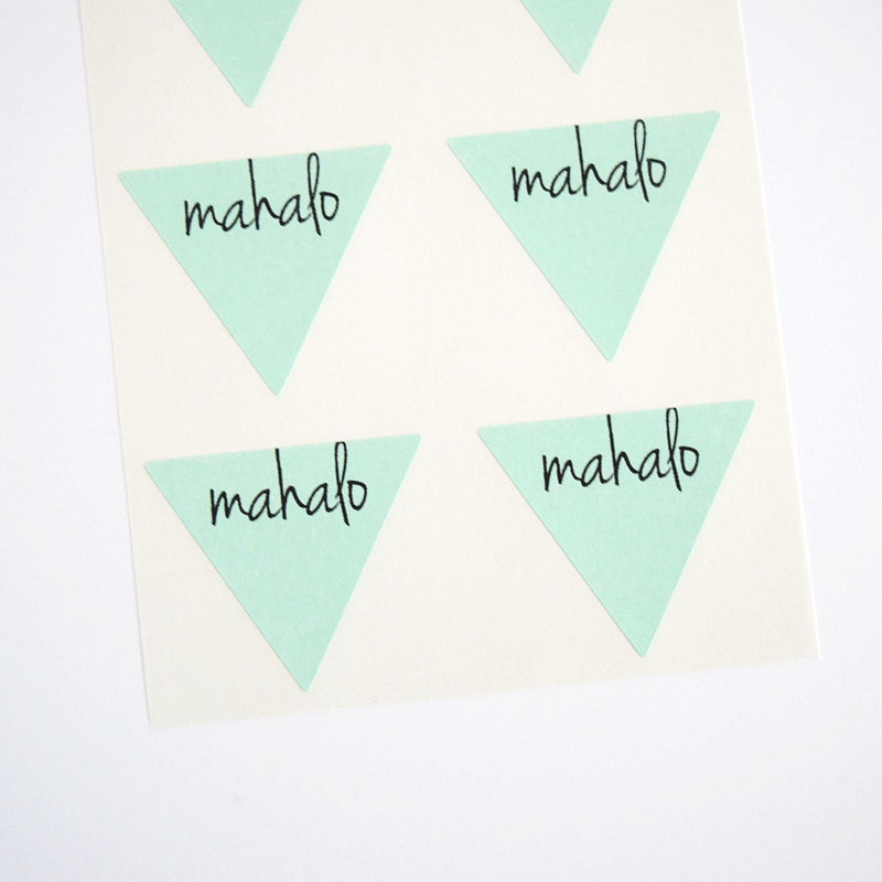 Mahalo Triangle Stickers Envelope Seals Favor Labels - Once Upon Supplies - 1