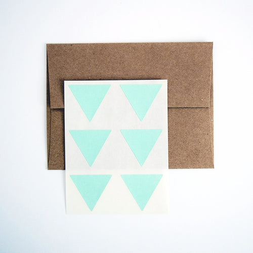 Mint Green Triangle Stickers. Triangle Labels. Package Seals. Gift Labels. - Once Upon Supplies