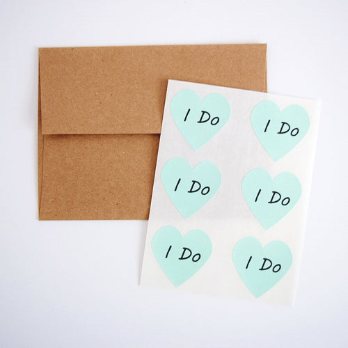 I Do Mint Green Heart Stickers - Once Upon Supplies - 1