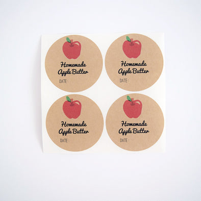 Apple Butter Round Mason Jar Labels - Once Upon Supplies - 1
