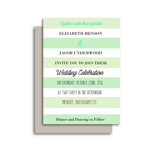 Elegant Mint Stripes Wedding Invitation