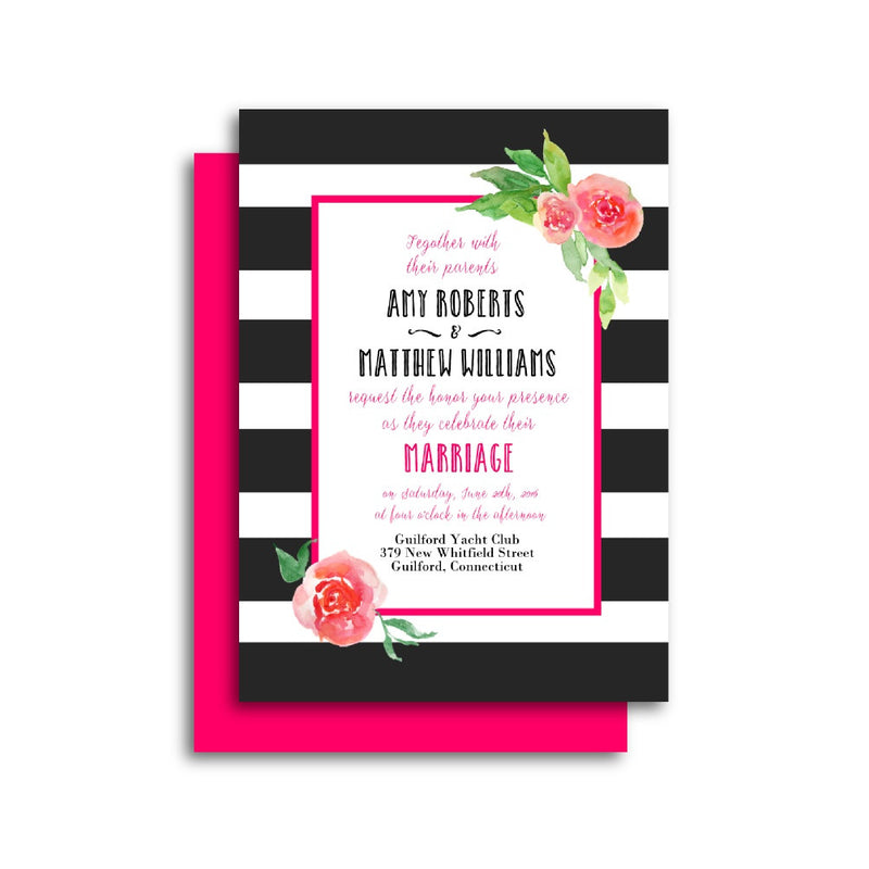 Fuchsia Watercolor Flowers with Stripes Wedding Invitation